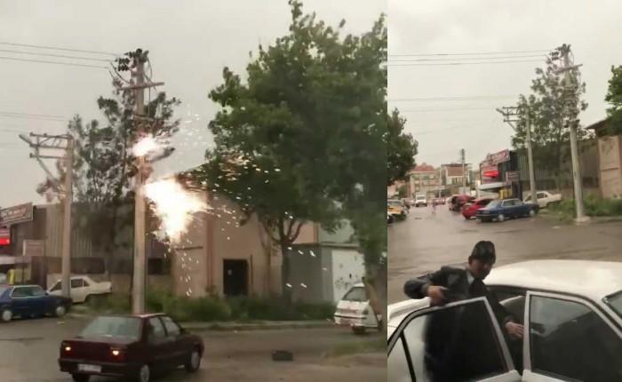 Afyon'da rüzgar sonucu patlayan trafo